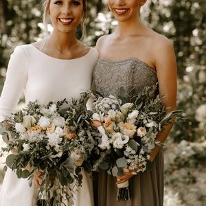 David's Bridal Lace and Mesh Long Strapless Dress